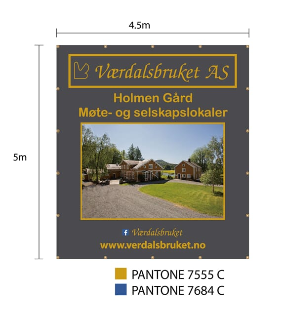 Polyester banner 4,50x 5 m.